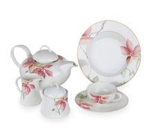 Сервиз чайный на 6 персон, 21 предмет, декор Magnolia, серия Achat Diamant, 4019TS21/2N, KOENIGLICH TETTAU, Германия