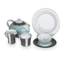 Сервиз чайный на 6 персон, 21 предмет, декор Swing Blau, серия Jade, 4076TS21/2F, KOENIGLICH TETTAU, Германия